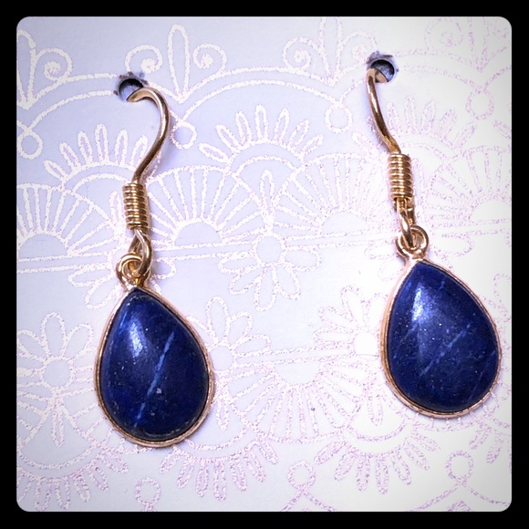 Gold Plated Lapis Lazuli Earrings